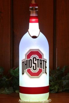Ohio State Buckeyes Lamp- Graduate Gift- Man Cave Decor- Osu images ideas from Home Inteior Ideas Ohio State Gifts, Ohio State Buckeyes, Lighted Wine Bottles, Bottle Lights, Healing Aloe Benjamin Moore, Buckeye Bars, Liquor Bar, Wine Bottle Crafts, Bar Signs