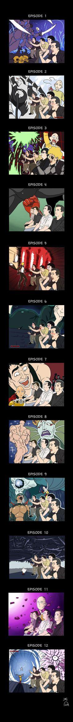 La réaction des fans au cours des 12 épisodes de One Punch Man… | Be-troll