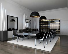 Large dining table and integrated wine wall: Manor Home, Barcelona _ by YLAB Architects _