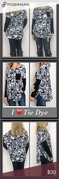 """I Love Tie Dye Black & White Pocket Tunic S M L XL I'm a little obsessed with tie dye & I'm in love with the relaxed, easy to wear fit of this tunic. Black & white tie dye pattern with black pocket & black sleeves. Round neck with slight side slits. Super soft, stretchy & flowy 96% rayon / 4% spandex S M L XL  Measurements: Small Bust 53"""" Length 27.5"""" Medium Bust 54"""" Length 28"""" Large Bust 55"""" Length 28.5"""" XL Bust 56"""" Length 29"""" Tops Tunics"""