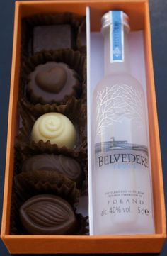 Mini wine with assorted chocolates from Chocolate Confections! <3  [www.kasal.com]