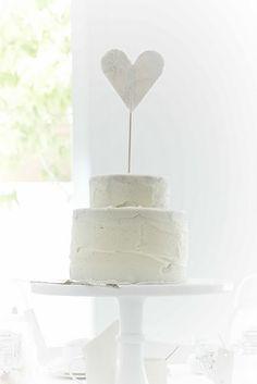 White heart cake <3 Monochromatic white tea party