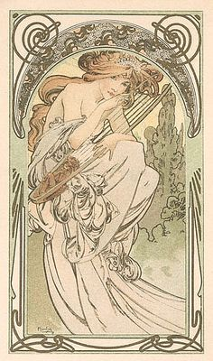 Beautiful!!!! I love the scrolling borders and the glorious lines of her dress.... [[Alphonse Mucha]]