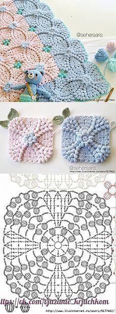 Transcendent Crochet a Solid Granny Square Ideas. Inconceivable Crochet a Solid Granny Square Ideas. Crochet Motifs, Crochet Blocks, Crochet Diagram, Crochet Stitches Patterns, Crochet Chart, Crochet Doilies, Crochet Flowers, Free Crochet, Knitting Patterns
