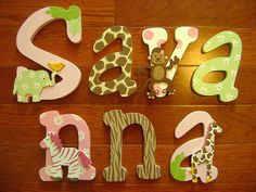 Custom Hand Painted Wood Letters for Carters Jungle Jill ... Not into themed baby rooms but these are so cute!