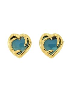 YSL Vintage Gold Green Gripoix Glass Heart Earrings - from Amarcord Vintage Fashion