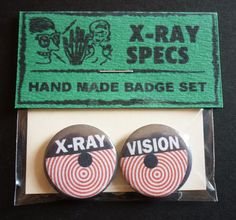 Xray Specs Handmade 1 Button Badge Set by GarboBlues on Etsy, £2.50