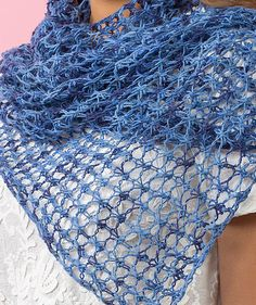 Free Knitting Pattern for 4 Row Repeat Lace Shawl or Scarf - Easy openwork mesh lace wrap is knit with a 4 row repeat in sock yarn on larger needles. Perfect for multi-color yarn. Designed by Lorna Miser