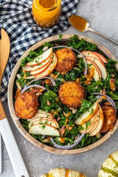 Kale Salad Recipe with Apples & Fried Goat Cheese (Fall Salad Ideas) Autumn Kale Salad Recipe topped with apples and fried goat cheese Kale Apple Salad, Pumpkin Salad, Kale Salad Recipes, Salad Dressing Recipes, Healthy Chicken Recipes, Real Food Recipes, Quinoa Salad, Fall Recipes, Herb Recipes