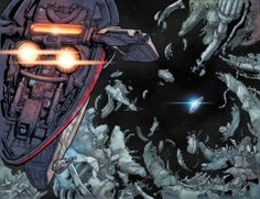 Two page spread of Slave I and the Millennium Falcon from 'Star Wars #2'