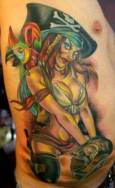 #Pirate #pinup #tattoo by Joe Capobianco - #tattoos