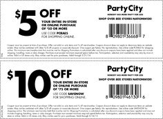 Pinned May 13th: Quick $5 off $50 at #PartyCity, or online via promo code PCRAE5 #coupon via The #Coupons App