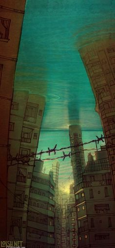 """Submerged"" digital art by Loish (aka Lois van Baarle) @ DeviantArt.com (http://www.deviantart.com/print/3796765/) More wonderful works at loish.net!!!"