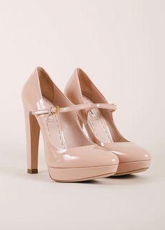 Nude Patent Leather Platform Mary Jane Heels