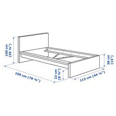 A clean design that's just as beautiful on all sides – place the bed on its own or with the headboard against a wall. If you need space for extra bedding, add MALM bed storage boxes on casters. Cama Malm Ikea, Ikea Lit Malm, Ikea Ikea, Malm Bed Frame, Ikea Canada, High Headboards, Steel Bed Frame, Ikea Family, Bed Slats