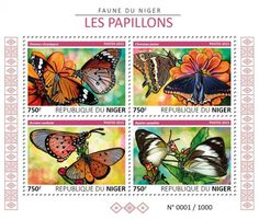 NIG15605a Butterflies (Danaus chrysippus, Charaxes jasius, Acraea neobule, Appias epaphia)