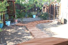 Here is a mock up of the path we are thinking of doing. Wooden Path, Paths, Outdoor Decor, Home Decor, Decoration Home, Room Decor, Home Interior Design, Home Decoration, Interior Design