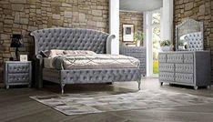 Glam Bedroom Set, Bedroom Decor, Bedroom Ideas, Queen Bedroom, Bedroom Furniture Sets, New Furniture, Urban Furniture, Furniture Outlet, Wooden Furniture