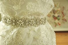 New Sophisticated Swarovski Crystals & Pearls Wedding Dress Sash Applique .    This rhinestone beaded sash applique will will enhance the beauty of your