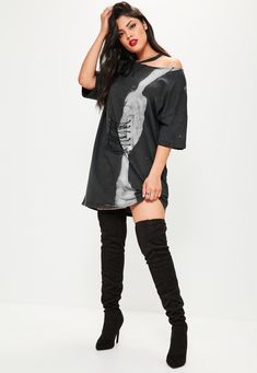 b869bc44e5162 There's no rest for the rad, step up your casj' wear in this t shirt dress  - featuring a tie dye black and grey hue, rounded neckline and front corset  ...