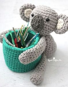 Free crochet pattern: Koala Bear Basket amigurumi by Repeat Crafter Me