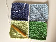 Jeg har lavet en detaljeret billedguide som viser hvordan man hækler granny squares sammen med fastmasker. Det er den metode jeg ... Double Crochet, Knitted Hats, Knitting, Diy, Inspiration, Granny Squares, Alpacas, Student, Fashion