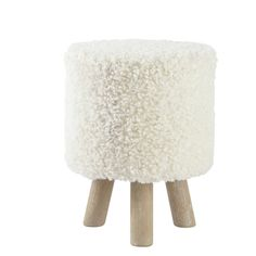 Tabouret pouf imitation laine et bois blanc ALPAGA
