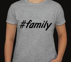 Womens Grey Tshirt. family. Hashtag tshirt for by ECVinylSupply