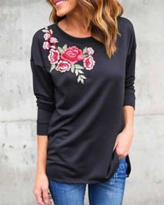 Flower Embroidered Long Tee