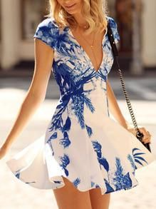floral spring dress, white cap sleeve v neck dress, white and blue floral print…