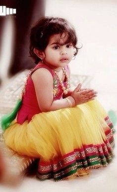 Lemon yellow and pink kids lehenga