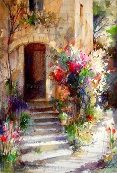 Fabio Cembranelli  ~ Floral Mediterranean Doorway ~  'Sarlat' ~  Watercolour 2013