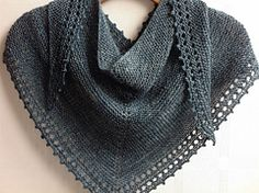 """Free Pattern - Jane Hunter-""""I designed this simple shawl using all of my most favourite aspects of the many small shawls I have made over the years - garter stitch, eyelets and picots. Knitted Shawls, Crochet Scarves, Crochet Shawl, Knit Crochet, Free Knit Shawl Patterns, Prayer Shawl Patterns, Free Pattern, Ravelry, How To Purl Knit"""