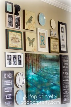 diy art - Group artwork that you already own into a gallery as shown on {a pop of pretty}.