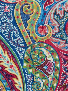 Paisley Upholstery Fabric Green Blue Red Modern Paisley Fabric via Etsy