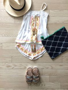 夏は絶対このセットアップでお出かけしたい!!キッズ刺繍キャミソール&ショートパンツ<SKEMO(スケモ)>