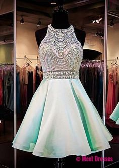 Mint Green Homecoming Dresses,Chiffon Homecoming Dress,Beaded Prom Dresses,Halter Cocktail Dresses,Sweet 16 Gowns,2018 Evening Gowns PD20185272