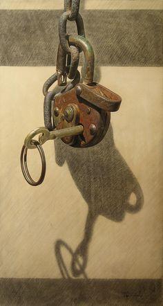 The Key by boykokolev {Boyko Kolev of Bulgaria} on deviantART ~ hyper-realistic art using oil & pencils on canvas