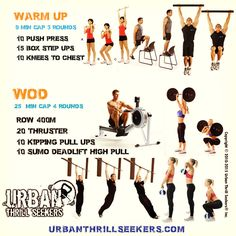 10 push press, 15 box step-ups, 10 Sumo Deadlift High-Pull, 10 knees to chest…