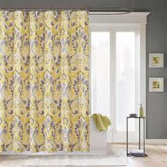 Create a bright and open space in your bathroom with the Palermo shower curtain. Made from polyester microfiber, this curtain features yellow and grey accents in an ikat design for a modern and colorful update to your bathroom. Fancy Shower Curtains, Bathroom Window Curtains, Grey Curtains, Shower Window, Accent Colors For Gray, Do It Yourself Decoration, Ikea, Diy Home, Home Decor