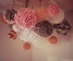 Pink and Grey Shabby Chic -DIY pom Chandelier by Southern Belle Step by step tutorials - Great for showers, baby & kids rooms!
