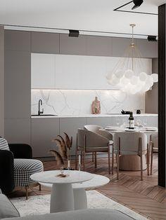 Apartments on Behance Kitchen Room Design, Modern Kitchen Design, Home Decor Kitchen, Kitchen Interior, Home Interior Design, Home Kitchens, Modern Classic Interior, Classic Living Room, Küchen Design