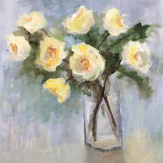 "14 Likes, 1 Comments - Lois Miller Arrechea (@arrecheaart) on Instagram: ""Yellow Roses #stillife #flowervase #mixedmediapainting #southernartist #oxfordartist"""