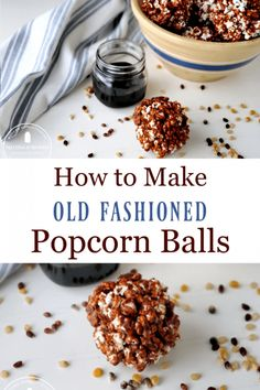 Old-fashioned popcorn balls made with molasses for an easy and delicious treat reminiscent of a traditional treat without corn syrup. Easy and delicious snack or dessert and makes a great Christmas gift for goodie baskets. Homemade Popcorn, Homemade Donuts, Popcorn Recipes, Donut Recipes, Real Food Recipes, Simple Recipes, Yummy Snacks, Yummy Treats, Delicious Desserts