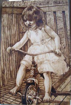 The little girl Pyrography - Michin Bouick