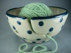 "Tea cup, yarn, blue and green.  This had to go on my ""favorite things"" board."
