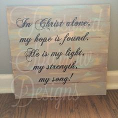 In Christ Alone wooden pallet sign Inspirational wall decor home decor by TreasuredSparrow on Etsy https://www.etsy.com/listing/475366552/in-christ-alone-wooden-pallet-sign
