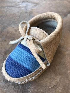 Boho baby blue moccasins!   Marie California's mini moccasin line brings an adorable addition to your babies shoe collection!