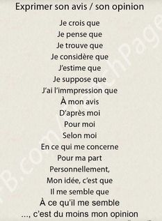 French expressions of opinion French Language Lessons, French Language Learning, French Lessons, French Phrases, French Words, French Quotes, French Expressions, French Teaching Resources, Teaching French