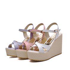 Women's Shoes Wedge Heel Wedges/Open Toe Sandals Office & Career/Dress Pink/Purple/White – USD $ 39.99